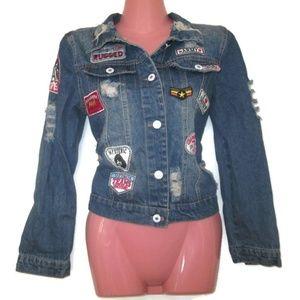 Jackets & Blazers - retro patch jean jacket size small 4 6